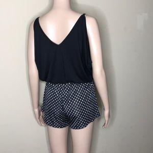 Romper Shorts Black and White Polka dots Size S